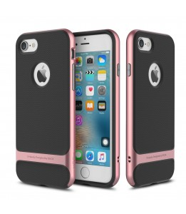 Coque iPhone 7/8 ROCK contour bumper rose Royce with kick stand