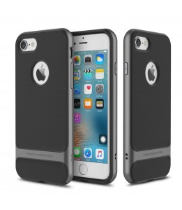 Coque iPhone 7/8 ROCK contour bumper gris Royce with kick stand
