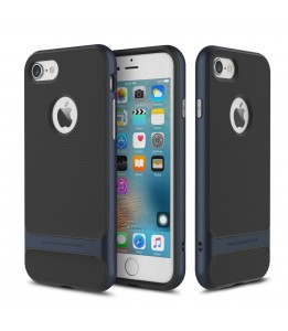 Coque iPhone 7/8 ROCK contour bumper bleu navy Royce with kick stand