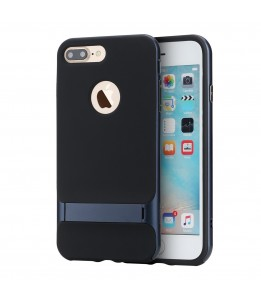 Coque iPhone 7 Plus / 8 Plus ROCK contour bumper bleu navy Royce with kick stand